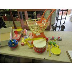 FIsher Price Band Set, Tuff Stuff Shopping Cart, Tupperware  & Tupperware Block Set- Vintage