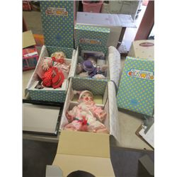 Knowles Littlest Clown Porc Dolls in Boxes