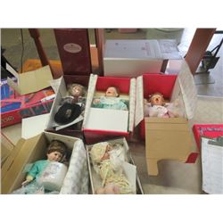 5 Porc Dolls in Boxes