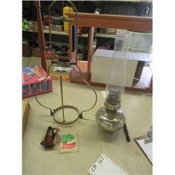 Hanging Aladdin Lamp w Extra Chimney & Mantle Vintage