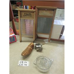 2 Washboards, Boston Pencil Sharpener, Shoe Stretcher, &  Sunkist Reamer - Vintage