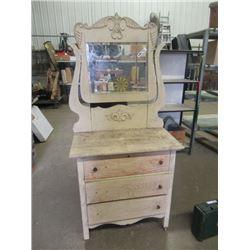 """Vintage Painted Dresser w Swing Mirror 33""""H 32""""W 18""""D - Mirror 36""""H"""
