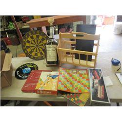 Magazine Rack, Texas Mickey Bottle, Dart Board, Old Clocks, & Record CLock