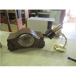 Vintage Forestville Mantle Clock & Flex Lamp