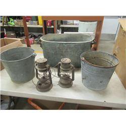 Galvanized Boiler, 2 Galv Pails, 2 Barn Lanterns No Globes - Vintage