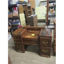 "Vintage Vanity Dresser w Stool 29"" H 45""W 18"" D - Mirror 40""H & Headboard"