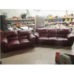 (EC) Leather Burgundy Couch & Loveseat