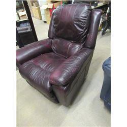(EC) Lazy Boy Burgundy Leather Recliner