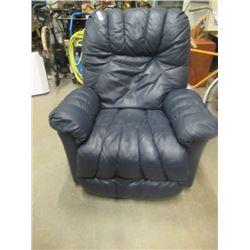 (EC) Lazy Boy Blue Leather Recliner