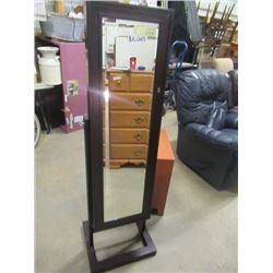 "(EC) Modern Self Standing Mirror w Hidden Jewelry Cabinet w Key - Bevelled Mirror 60""H 15""W 4"" D - P"