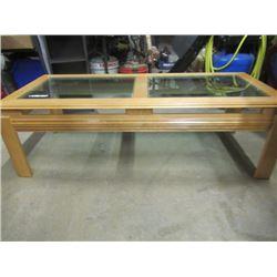 "(EC) COffee Table - Wood & Glass 16"" H 52""W 22""D"