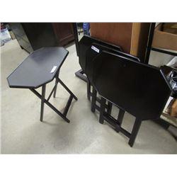 (E) 4 Wooden Folding TV Tables