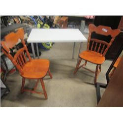 """(EC) Small Table w 2 Solid Wood Chairs 39.5 x 24"""" (Table Top)"""