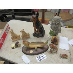 "Devonware Chalkware German Shepherd 14""H Ornaments, Owls, Dogs, Scottie Dog Book Ends, Fish Baromete"