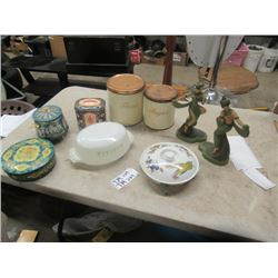 2 Devonware Ornaments, Metal Cannister, Tins, Fire King, & More!