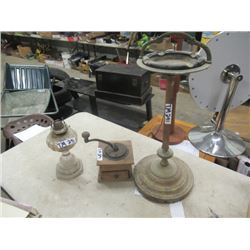 Coffee Grinder, Coal Oil Lamp, & Ashtray Stand