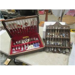 Community Silver Plated Cutlery Set in Chest & Souvenir Spoons