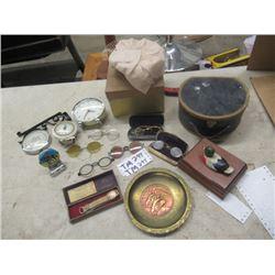 Old Eye Glasses, Alarm CLock, Barometer, Old Watch & More!