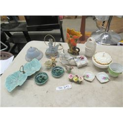 Bedroom Lamp, Covered Dish, Vase, Candle Holders Plus More!