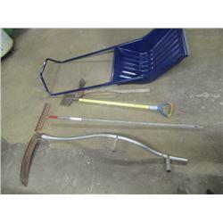 Al Handled Scythe, Rake, Edger, Pick , Large Snow Shovel