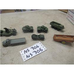 7 DInky Toys, Military Tanks, Trucks, Farm Wagon -Vintage