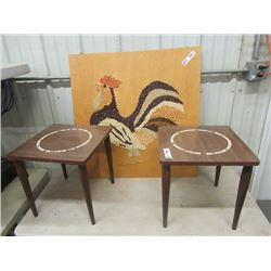 Rooster Display & 2 Small Stands