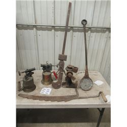 2 Blow Torches, Beam Scale, Auto Jack, & Hay Knife