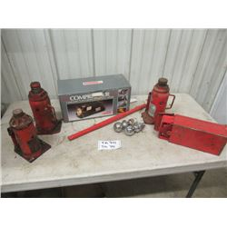 3 Hyd Bottle Jack, 12 Volt Air Comp, Road Flares, 2 Ball Hitches