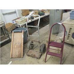 3 Items  Acetylene Cart, Stepper & Creeper
