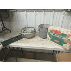 2 Coleman Camping Stoves, Galvanized Pail, Cream Separator Bowls