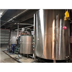 BREWING PRODUCTION LINE INC. 2003 ACCENT 2,400 LITRE STAINLESS STEEL MASH TANK, 2,800 LITRE TANK,