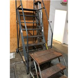 3 LADDERS INC. 6' MOBILE STAIRS, 2.5' MOBILE STAIRS AND 6' FOLDING LADDER