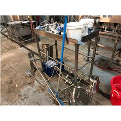 ASSORTED STAINLESS STEEL PIECES INC. WORK BENCH, POTS, STORAGE UNITS ETC., INC. CONTENTS ON BENCH