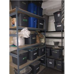 APPROX 20 BINS OF ASSORTED GRAIN/OTHER CONTENTS, MUST TAKE ALL, COMES WITH 2 BAYS OF RACKING