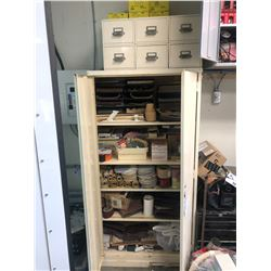 METAL TOOL CABINET AND DRAWERS WITH CONTENTS INC. LARGE ASSORTMENT OF SANDPAPER, SANDING BELTS,