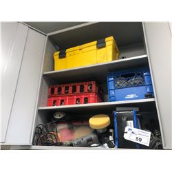 CONTENTS OF CABINET INC. GRINDER/SANDER, BUFFING PADS, SUPPLIES AND MORE