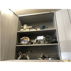 CONTENTS OF CABINET INC. OLDER POWER TOOLS, CORNER CLAMP AND MORE