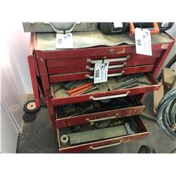 7 DRAWER MOBILE TOOL CHEST WITH CONTENTS INC. CLAMPS, DISCS, SUPPLIES ETC.