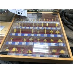 ROUTER BIT CONTENTS IN STORAGE CASE (YELLOW)