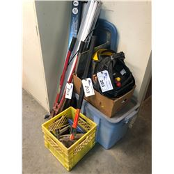 CONTENTS IN CORNER AREA INC. LIGHTS, TOOL BAG, BINS WITH CONTENTS, BOLT CUTTER ETC.