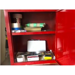 RED TOOL CABINET WITH ASSORTED CONTENTS