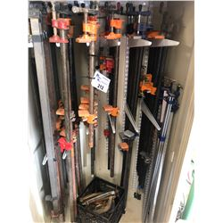 LARGE ASSORTMENT OF BAR/PIPE CLAMPS AND REMAINING CONTENTS OF CABINET, COMES WITH CABINET