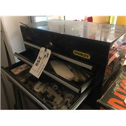 STANLEY 3 DRAWER TOOL BOX WITH ASSORTED AIR FITTINGS/ADAPTERS AND MORE