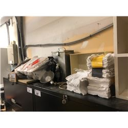 ASSORTED CONTENTS ON TOP OF FILE CABINETS INC. CLOTHES, CABLE, PARTS ETC.