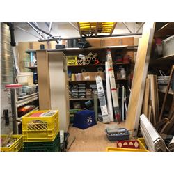 CONTENTS OF UPPER MEZZANINE INC. HARDWARE, TOOLS, SUPPLIES, SANDPAPER, EXTENSION CORDS AND MORE,