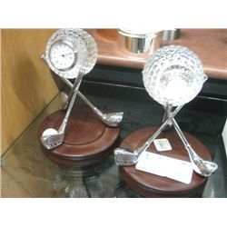 2PC GOLF CLOCK SILVER WITH WOODEN BASE