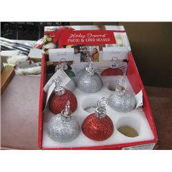 6PC HOLIDAY ORNAMENT PHOTO AND CARD HOLDER