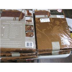 6PC DAMASK TABLE CLOTHS ORANGE/BROWN
