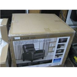 LEATHER POWER RECLINER WITH MAUAL HEADREST