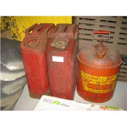 3 RED GAS CANS